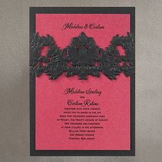 Opulent Filigree Invitation - Onyx with Fuchsia Shimmer (Direct Link - http://occasionsinprint.carlsoncraft.com/Weddings/Invitations/3149-RRN9627FS-Opulent-Filigree-Invitation--Onyx-with-Fuchsia-Shimmer.pro)