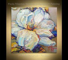 Magnolia original pintura al óleo Nizamas listo para nave