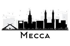 Mecca City skyline silhouette - Illustrations