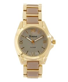 Loving this Taupe & Goldtone Contrast Bracelet Watch on #zulily! #zulilyfinds