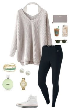 """FOLLOW ME!!!!!"" by olivia524 on Polyvore featuring Kendra Scott, Chanel, NIKE, Converse, Majorica, Michael Kors, J.Crew, Casetify and Kate Spade"