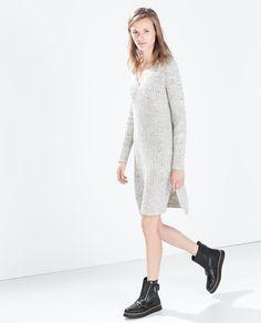 Image 3 of RIBBED V-NECK DRESS from Zara