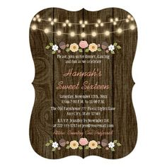 Blush String of Lights Rustic Sweet 16 Card