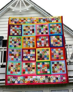Attack of the Mutant I Spy Quilt.  Huge Queen I spy Quilt with no 2 squares the same by Riel Nason