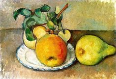 Paul Cézanne, Still LIfe with Apples and a Pear / Paul Cezanne - Cezanne Art, Paul Cezanne Paintings, Oil Paintings, Paul Gauguin, Cezanne Still Life, Still Life With Apples, Still Life Artists, Fruit Painting, Apple Painting