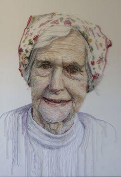 Jenni Dutton, textile artist. One in a series titled Dementia Darnings.