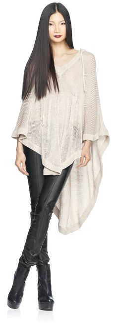 house-of-dereon-fall-2012-loose-sweater-knit-cape-with-oversized-hood #HauteCouture