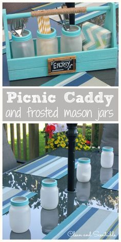 Cute painted caddy with frosted mason jars.  So many uses! Visit & Like our Facebook page! https://www.facebook.com/pages/Rustic-Farmhouse-Decor/636679889706127