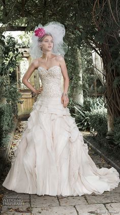 """Maggie Sottero Fall 2015 Wedding Dresses   Wedding Inspirasi   """"Tiffany"""" -- Stunning Pastel Pink A-Line Bridal Gown Featuring A Strapless, Sweetheart Neckline, Swarovski Crystal Embroidered Bodice, """"Ruffled"""" Silk Organza Skirt, Chapel Train; (Front/Full View)·····"""