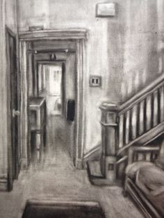 An interior piece made in charcoal.