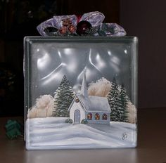 Gift idea... painted glass block - Drill a hole in back and add a strand of small white lights. Beautiful!
