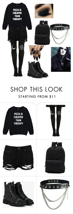 """hanging out with chris motionless"" by biersack-kai ❤ liked on Polyvore featuring Boohoo, Vans and Giuseppe Zanotti"