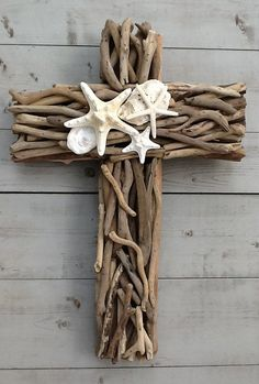 Driftwood Seashell Cross by My Honeypickles
