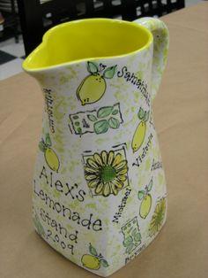 class auction lemonade pitcher fingerprint lemons by Pottery Piazza