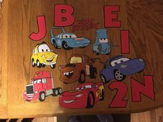 Set of 7 Cars die cuts with happy birthday die cut, 5 Letters and one number by scrappinbjs. Explore more products on http://scrappinbjs.etsy.com