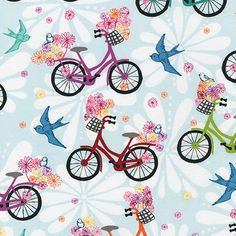 Robert Kaufman - Ashton Road - Retro Girl's Bikes - Blue - Valori Wells - Choose Your Cut 1/2 or Full Yard