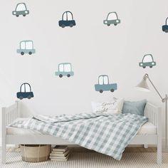 Car Decals - Blue - Project Nursery Boy Toddler Bedroom, Baby Boy Room Decor, Toddler Rooms, Baby Boy Rooms, Kids Bedroom, Boy Bedrooms, Wall Decals Toddler, Blue Bedroom, Room Lights