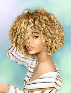 Blondie by MelanoidInk on DeviantArt Black Love Art, Black Girl Art, Ethiopian Beauty, Curly Hair Drawing, Natural Hair Art, Black Art Pictures, Black Cartoon, Afro Girl, Black Artwork