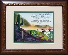 Prayer of Protection Inspirational Verse with bird on cactus framed and matted with option to personalize