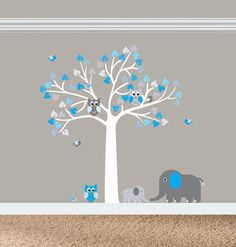 Aztec Wall Decals, Baby Nursery Tree Decal, Gray and Blue Nursery, Aztec Nursery, Nursery Decals, Baby Wall Decals, Vinyl Decals, Wall