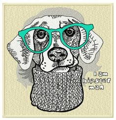 Hipster dog machine embroidery design. Machine embroidery design. www.embroideres.com