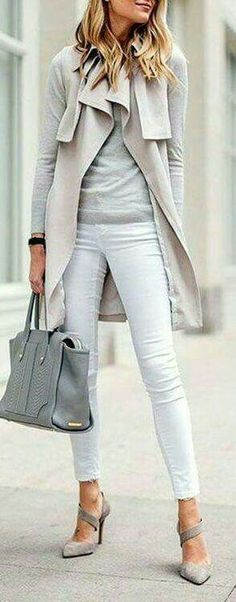White jeans fall winter outfit