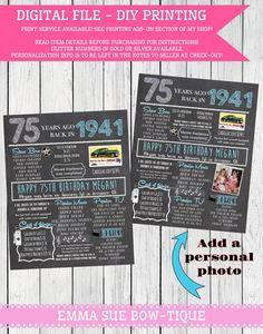 1941: 75th Personalized Birthday Chalkboard Sign ***Digital File*** - DIY PRINTING