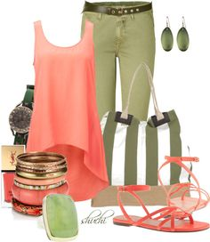 """""""Coral and Olive"""" by shuchiu on Polyvore"""