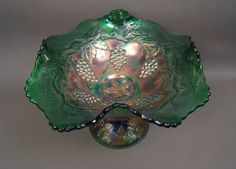 Fenton Wreath of Roses Centerpiece Bowl for auction. w/ Base from Punch Bowl – Green (from the great collection of Betty Burns;