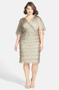Free shipping and returns on London Times Capelet Shutter Pleat Chiffon Dress (Plus Size) at Nordstrom.com. Make a radiant entrance in an Empire-waist dress crafted of ethereal chiffon. A pleated surplice bodice flatters your curves, while the sheer capelet draped over the back floats gracefully with every step. The  shutter-pleated skirt enhances the fluttery elegance.