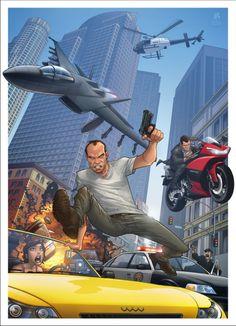 GTA V - video game artwork by Patrick Brown Patrick Brown, Gta V Ps4, Playstation, Xbox 360, Trevor Philips, Grand Theft Auto Series, V Video, Brown Art, Rockstar Games