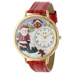 Whimsical Unisex Christmas Santa Claus Red Leather Watch. #santa #christmasgift #xmas