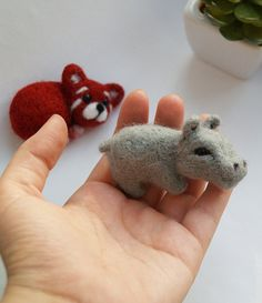 red panda and #hippo #needle #felted #animals