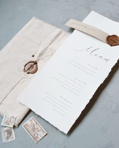 fine art deckled edge menu with wax seal Wedding Place Cards, Wedding Art, Wedding Paper, Wedding Decor, Diy Wedding Menu Cards, Wedding Ideas, Wedding Stationery Inspiration, Wedding Stationary, Wedding Invitations