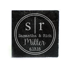 Black Granite Coasters (set of 4) - Double Circle with monogram personalized with full names and date