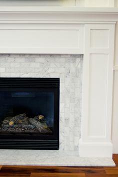 carrara tile, horizontal and vertical and fireplace