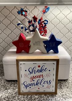 Fourth Of July Decor, 4th Of July Fireworks, 4th Of July Celebration, Fouth Of July Crafts, Tray Styling, Let Freedom Ring, Patriotic Decorations, Ceramic Decor, Summer Crafts