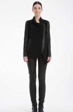 OKISHI Knit Jacket with Leather Detail. Black  177001