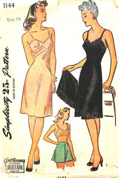 2e3ac3e1ff Vintage Simplicity 1144 Pattern Misses Slips and Panties or Tap Pants Size  20 Bust 38
