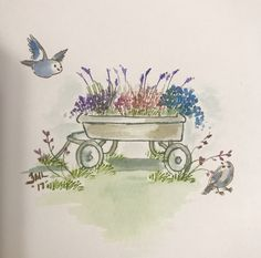 Art Impressions Wagon. Love this stamp! Watercolor Sketch, Watercolor Cards, Watercolor Paintings, Flower Garden Drawing, Art Impressions Stamps, Small Art, Painted Stones, Copics, Pallet Ideas