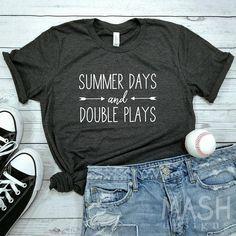 baseball shirt, softball shirt, summer days and double plays shirt, baseball mom shirt, softball mom shirt, baseball sayings, baseball gift