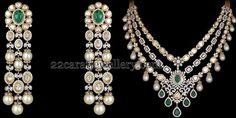Jewellery Designs: Diamond Necklace with Tassels Earrings