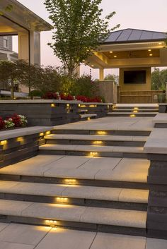 50 most amazing side yard landscaping ideas to beautify your garden 3 ~ Beautiful House Lovers Outdoor Steps, Patio Steps, Garden Steps, Side Yard Landscaping, Backyard Patio, Landscaping Ideas, Outdoor Light Fixtures, Outdoor Lighting, Landscape Lighting