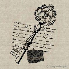 Antique Key French Letter Shabby Lace Instant by WingedImages Decoupage Vintage, Decoupage Paper, Shabby Vintage, Vintage Paper, Cles Antiques, Stencil, Etiquette Vintage, Foto Transfer, Antique Keys