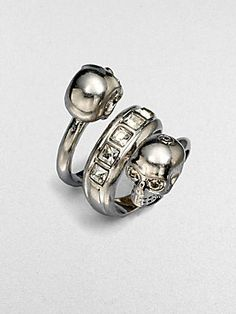 Alexander McQueen Wrapped Twin Skull Ring