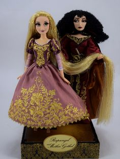 Rapunzel and Mother Gothel Doll Set - 2015 DFDC Heroes and Villains - Disney Store Purchase - Deboxed - On Display Stand - Full Front View