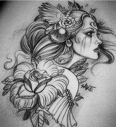 Girl Flowers Tattoo Design