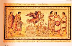 Foundation of Tenochtilan, from the Duran Codex. The scene corresponds to the exact moment in which the Teomamaque of the Aztec tribe identify the place in which they must found their great city. Tenochtitlan (the place of the nopal cactus on a stone) was the place in which the Aztec Sun and War God, Huitzilopochtli ordered them to do so. The foundation of Tenochtitlan dates to 1325 A.D.