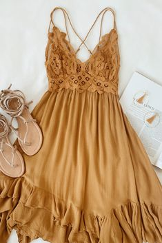 Don the Free People Adella Slip Golden Yellow Lace Dress for a romantic Boho look! Crochet lace shapes a bralette-inspired bodice atop this gauzy slip dress. Boho Outfits, Casual Fall Outfits, Casual Dresses, Cute Outfits, Fashion Outfits, Maxi Dresses, Elegant Dresses, Boho Summer Outfits, Women's Casual