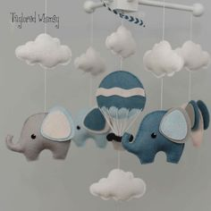 Hey, I found this really awesome Etsy listing at https://www.etsy.com/listing/212868102/elephant-mobile-hot-air-balloon-mobile